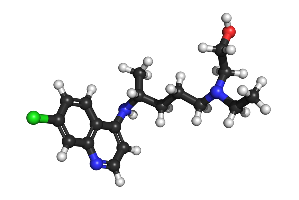 A freebase model rendering of a hydroxychloroquine molecule