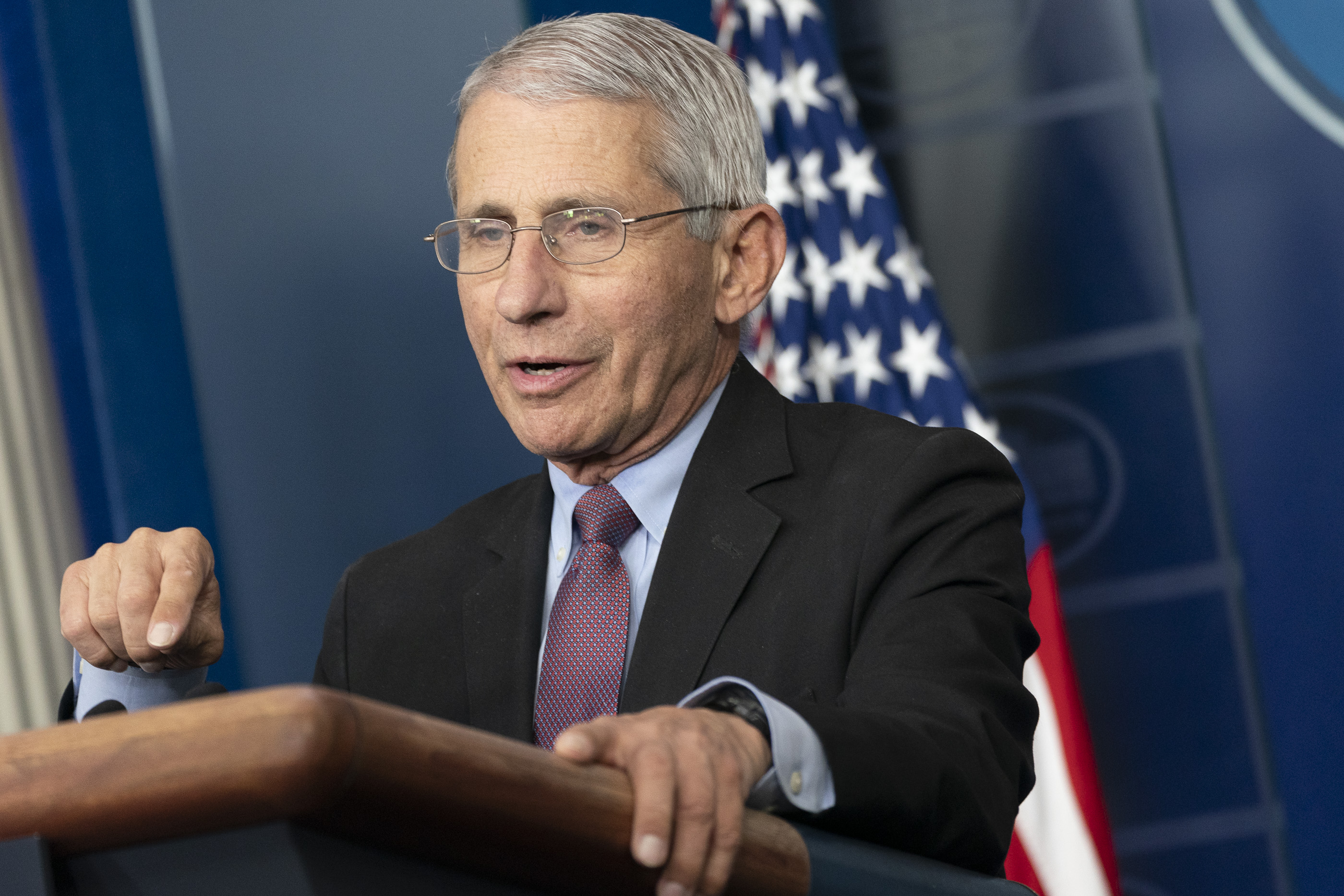 Dr. Anthony Fauci giving a public address