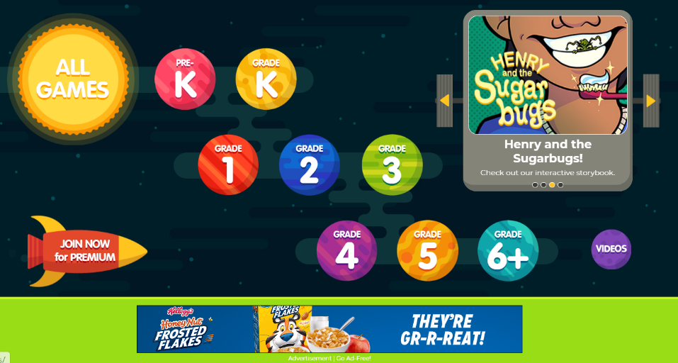 """A digital learning game called """"Henry and the sugar bugs"""" displaying a kid with a toothbrush; there's a Frosted Flakes ad on the side"""