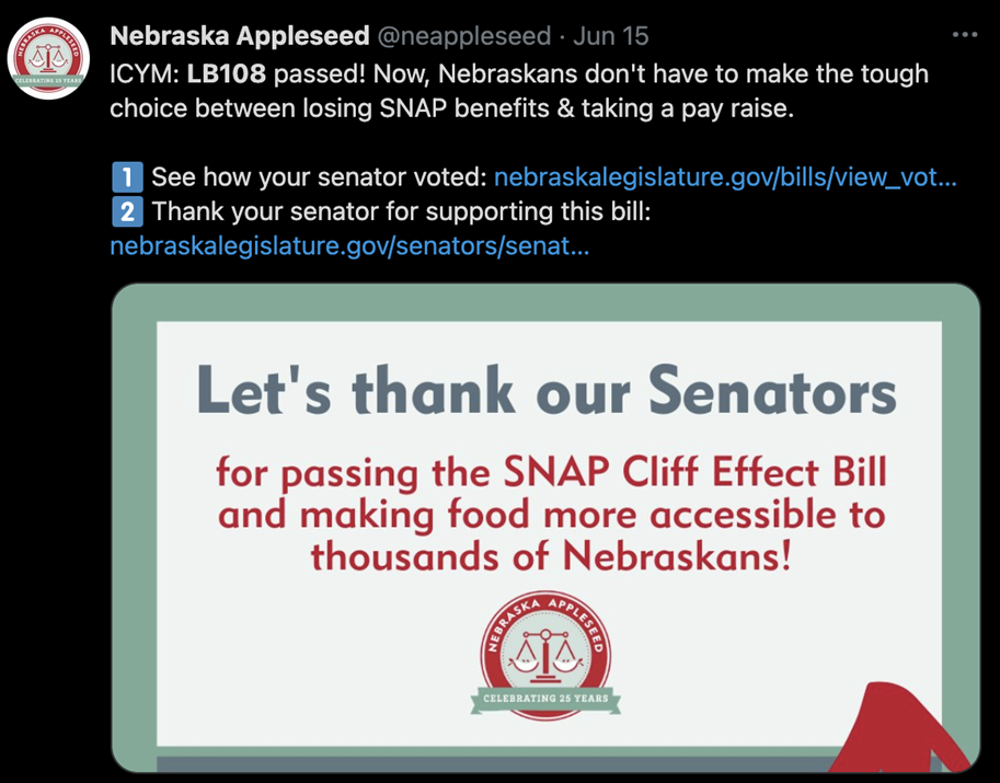Nebraska Appleseed tweet: Let's thank our Senators for passing the SNAP Cliff Effect
