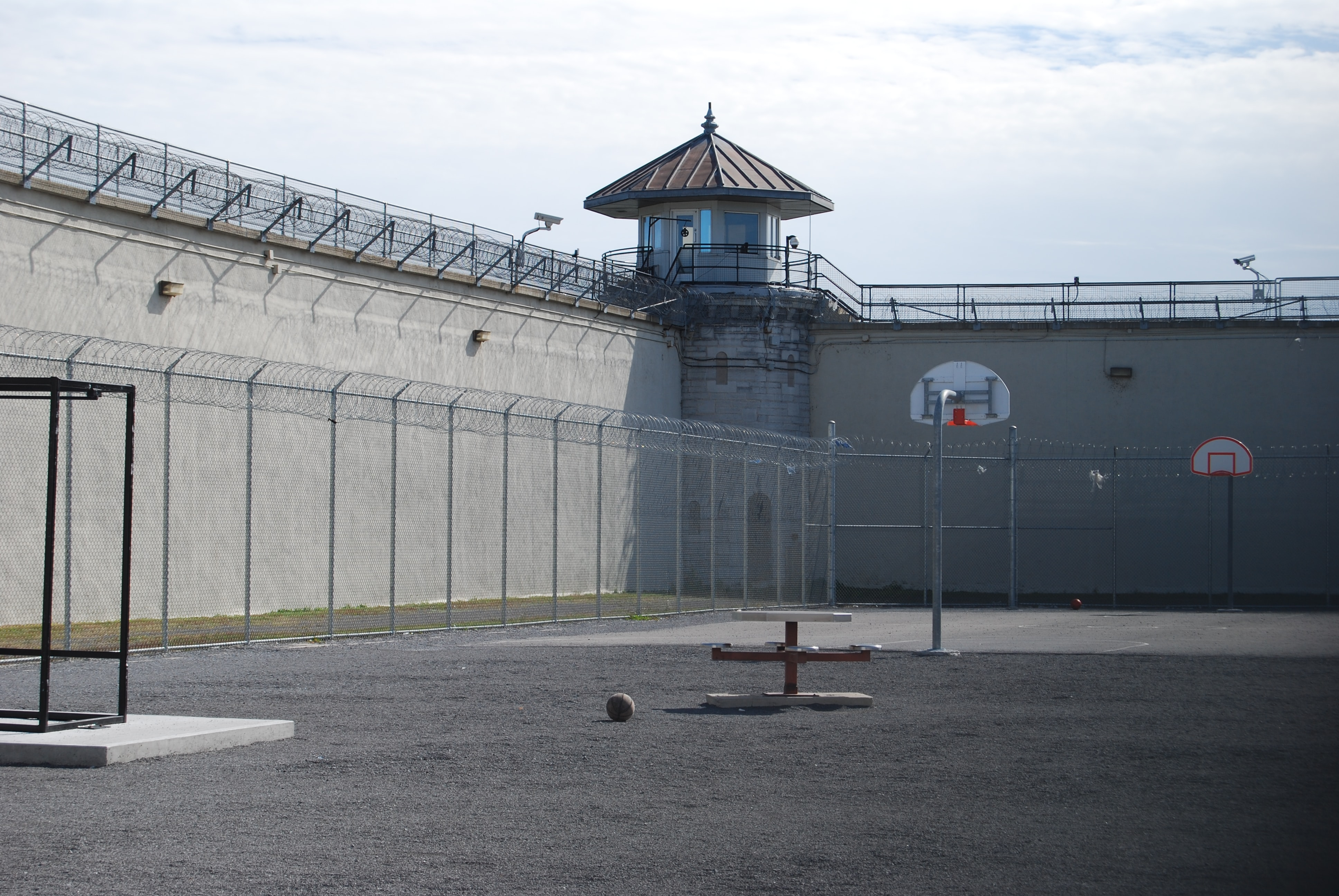 Photo of an empty prison yard