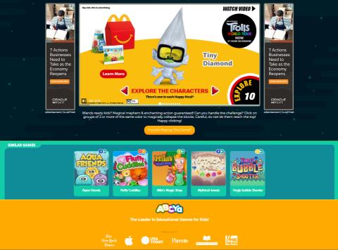 A McDonald's ad on ABCya