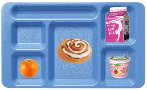 A school lunch tray with milk, a cinnamon roll, an orange, and yogurt