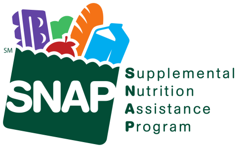 """The logo for the Supplemental Nutrition Assistance Program: a full bag of groceries marked """"SNAP"""""""