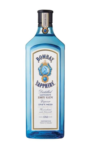 Image: a bottle of Bombay Sapphire gin