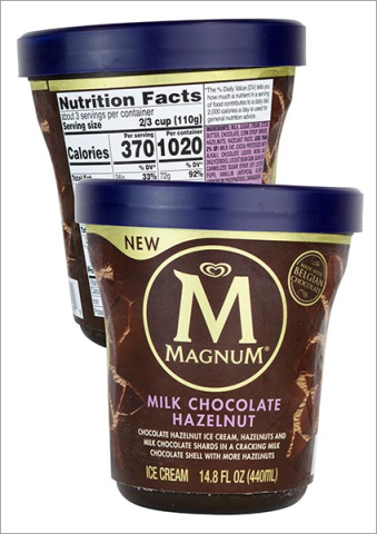 A single pint of Magnum Milk Chocolate Hazelnut ice cream contains more than 1/2 a day's calories.