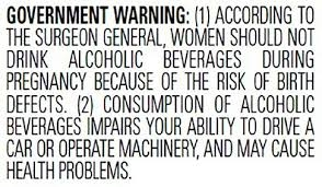The text of the Surgeon General's warning label for alcohol
