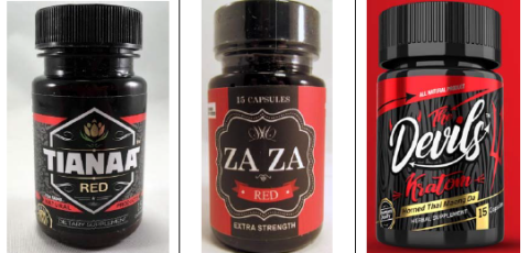 Three supplement bottles of tianeptine from different brands